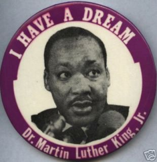 Dr Martin Luther King Jr Pin Pinback Button Civil 60s