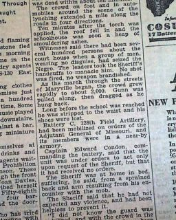Maryville MO Negro Lynching Raymond Gunn 1931 Newspaper
