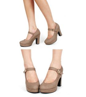 High Platform Chunky Heels Trends Mary Jane Shoes Black Beige
