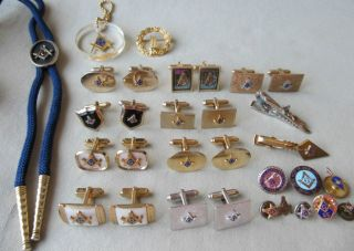 Vintage FREE MASON MASONIC Men CUFFLINK Tie Bar Tack Jewelry Lot