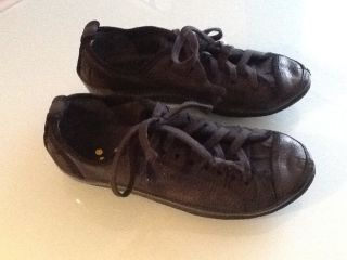 450 Marsell Goccia Black Leather Sport Shoes Sneakers Laceup XS EU 41