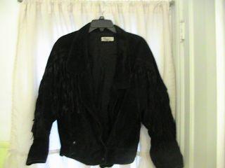 Ladies Black Fringed Leather Jacket Motorcycle Size Medium