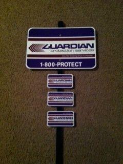 ADT Brinks Guardian Home Security Sign w 3 Window Door Stickers