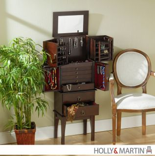 Jewelry Armoire Mirror Storage Chest Cabinet Holly Martin New