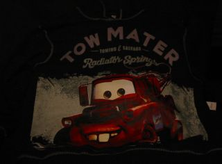 Disney Cars Tow Matter Black Hoodie sweat Shirt XL Towing Salvage New
