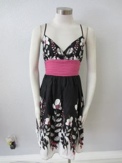 Studio M Max Studio  Black White Pink Floral Tie Back Summer