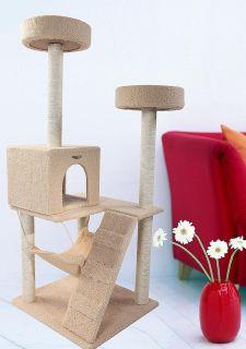 55 Beige Cat Tree Condo House Scratcher Pet Furniture Bed 03