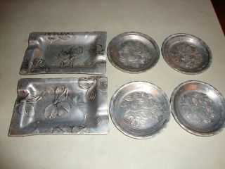Vintage Wendell August Forge Aluminum Coaster Set Ashtray Quaker State