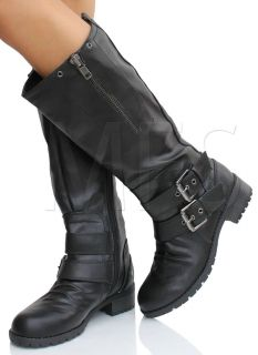 Black Faux Leather Buckle Knee High Riding Flat Boots Masa