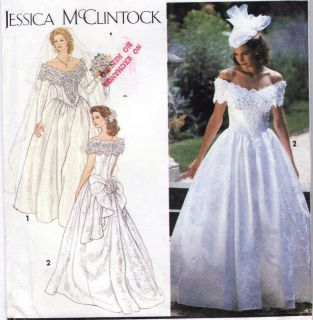 MCCLINTOCK OFF THE SHOULDER BRIDAL WEDDING DRESS TRAIN PEPLUM PATTERN