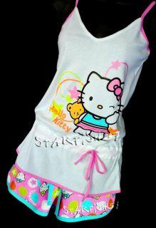 Hello Kitty 2 PC Cotton Shorts Sleep Set Sz M New