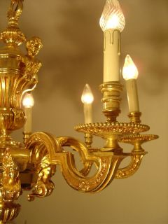 LT VINTAGE BIG SOLID MAZARIN CHANDELIER GOLD BRONZE FINISH OLD