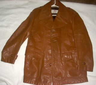 Vintage McGregor Brown Leather Jacket Coat Size 40L International
