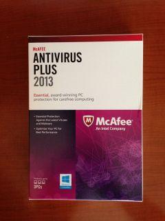McAfee Antivirus 2013 Plus 3 User Full Version for PC Retail Box New