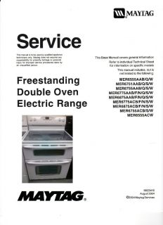 Maytag Free Standing Double Oven MER6555 Electric Range Service Manual