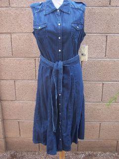 NWT $108 Reba McEntire Western Denim Embroidered Embellishe Dress 6