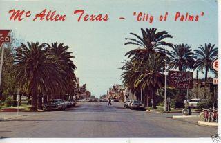 1950s Cars McAllen Texas Street Scene Postcard