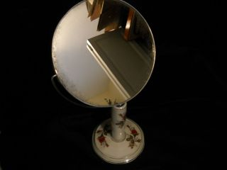 Vintage Vanity / Shaving Mirror   Japan   Handpainted Floral Porcelain