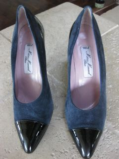 Maud Frizon Miss Maud Navy Suede Patent Leather Shoes Heels Used 37 5