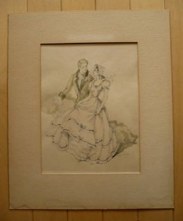 Maude Kaufman Eggemeyer Listed Vintage Old 1940 Print Romantic Dance
