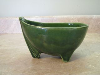 McCoy Pottery 3 Footed Planter Dish Bathtub Boat Green