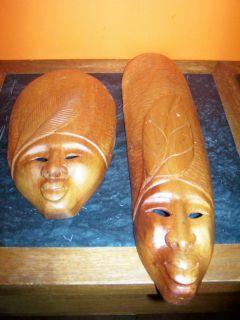 Vintage Thai Thailand Hand Carved Wooden Tribal Masks