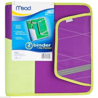 Mead 2 Inch 2 3 Ring Coupon Binder with Pocket and Zipper Purple Brand
