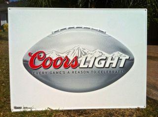 Coors Light Logo BIG NFL Football Metal Tin Sign Tacker NEW neon sign