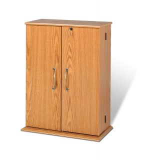 OAK Media Storage Cabinet w Lock Locking Shaker Doors New DVD CD PP