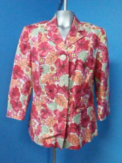 Norton McNaughton Pink Floral Women Blazer Suit Jacket Sz 12