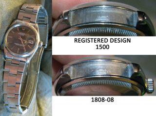 Vintage Mens Rolex Oyster Perpetual Date 1500 Rivet Bracelet Charcoal