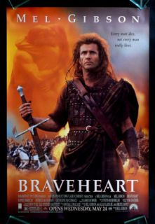 Braveheart 1sh DS Orig Movie Poster 1995 Mel Gibson