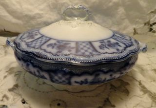 Antique Melbourne Flow Blue Grindley Pattern Lidded Vegetable Handled