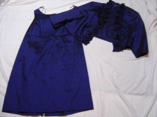 Lovely Navy Blue 2 PC Formal Dress Sheath Short Jacket Ruffled 22
