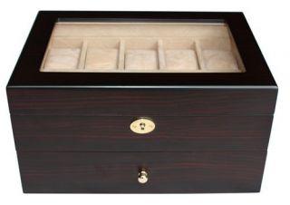 WALNUT DARK WOOD MENS WATCH COLLECTOR JEWELRY DISPLAY CASE BOX GIFT