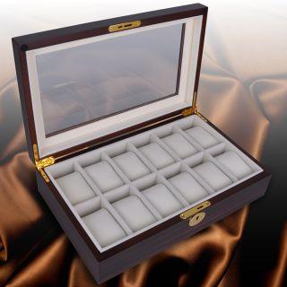 Mens Style Walnut Wood Watch Display Case Glass Top Jewelry Box