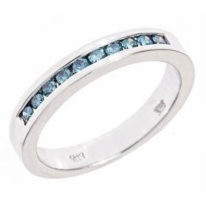 2ct Mens Channel Blue Diamond Wedding Band Ring 10K White Gold