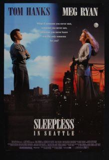 Sleepless in Seattle 1993 Meg Ryan Tom Hanks Original Movie Poster