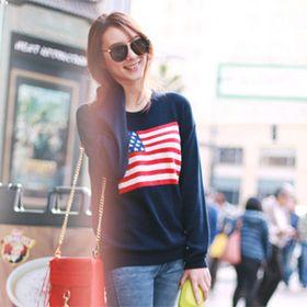 Brandy Melville American Flag Sweater Navy