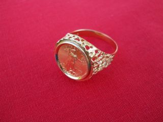 Mens $5 US American Eagle 1 10 Gold Coin Ring in 10K Setting
