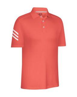W47257 ClimaCool 3 Stripes Polo Poppy White Mens Golf Shirt New