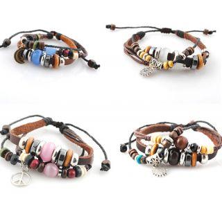 Mens Cord Bracelet Hemp Surfer Braided Leather Wristband Bracelets
