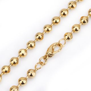 Mens 18K Ball Gold Filled Plated Beads Necklace Link Chain Jewelry