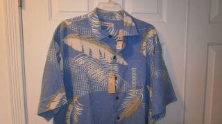 Tommy Bahama Silk Mens Shirt Large x Large Cabo Blue L XL