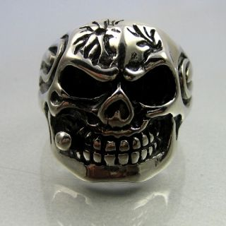 Heavy Biker Stainless Steel Skull Smoker Mens Ring