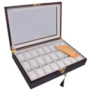Wood Mens Watch Display Glass Top Case Organizer Collector Jewelry Box