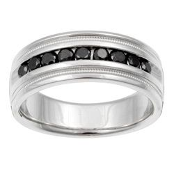 Mens Women Black Diamond Wedding Band Ring Sz 8 Sz 9 Sz 10 Sz 11 Sz 12