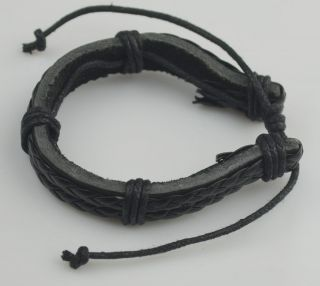 Mens Braided Leather Cord Bracelet Hemp Surfer Wristband Bracelets