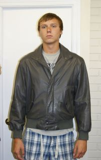 Vintage Mens 1980s Gray Leather Members Only Jacket