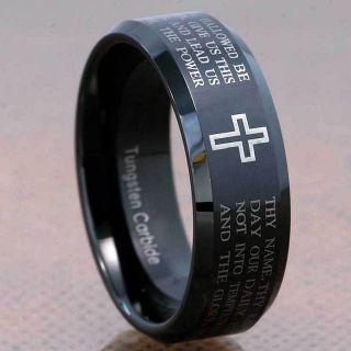 8mm Black Tungsten Carbide Christian Cross Bible Scroll Etch Mens